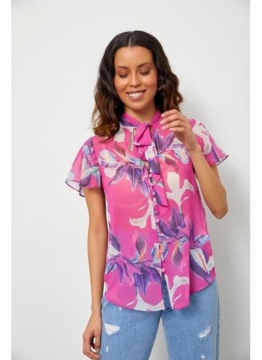 Setre Orkide Floral Desen Bluz Renkli